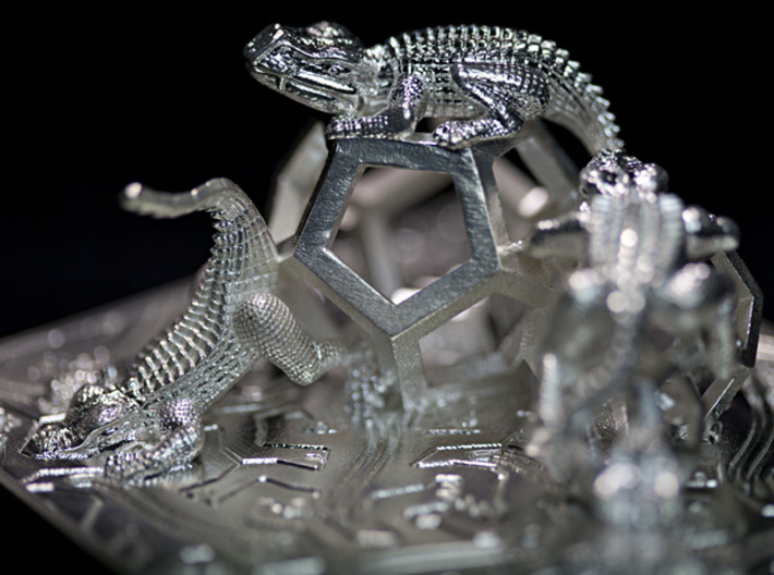 Reptiles & Dodecahedra mini sculpture Fine Art. 3d printed Photo, midline tight.