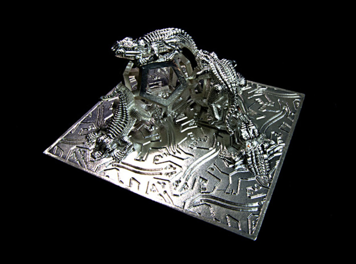 Reptiles & Dodecahedra mini sculpture Fine Art. 3d printed Photo, 16 mm wide angle.