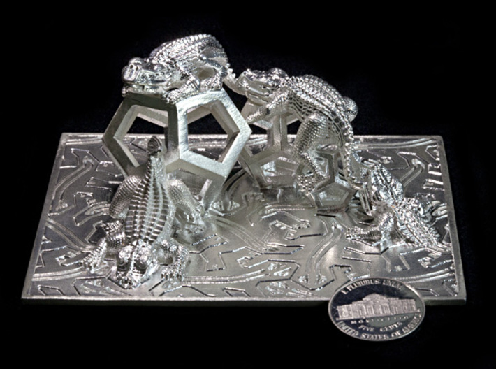 Reptiles & Dodecahedra mini sculpture Fine Art. 3d printed Photo with coin for scale.