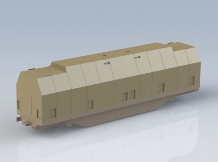 HO 1/87 Boeing aircraft parts railcar & hoods 3d printed All three CAD model parts assembled.