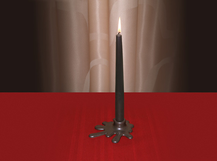 Melted candle holder 3d printed Example with a black candle