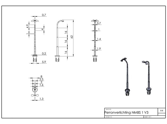 Perronverlichting NMBS Dubbel model 1 3d printed