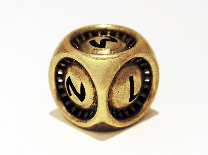 Turbo D6 3d printed Polished Brass