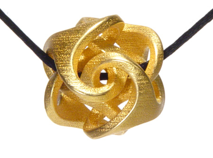 Ora Pendant (smaller) 3d printed Matte gold plate
