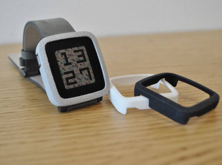 Pebble Time Steel Bumper Cover 3d printed Polished mettalic plastic, white and black / photo by @apebbleaday