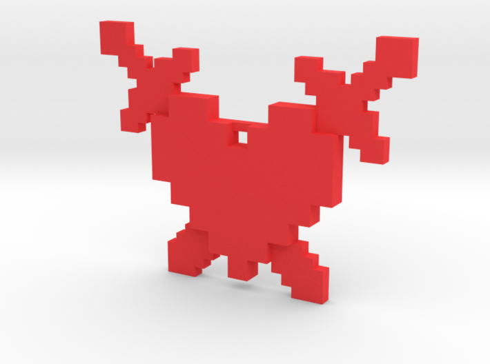 8-Bit Heart and Crossed Swords Necklace 3d printed