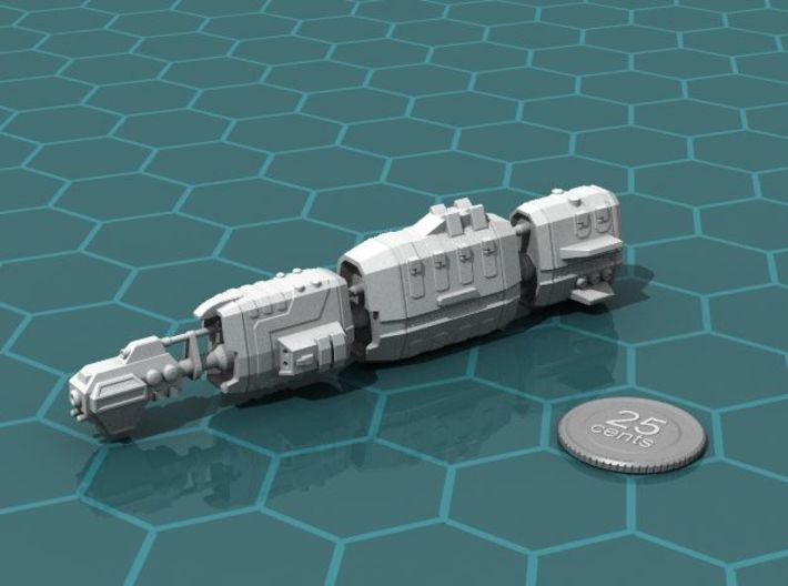 USASF Crockett class Battleship 3d printed Render of the model, with a virtual quarter for scale.
