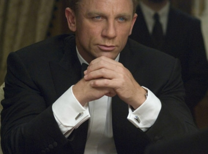007 Cufflinks with inscription 3d printed James Bond in Casino Royale
