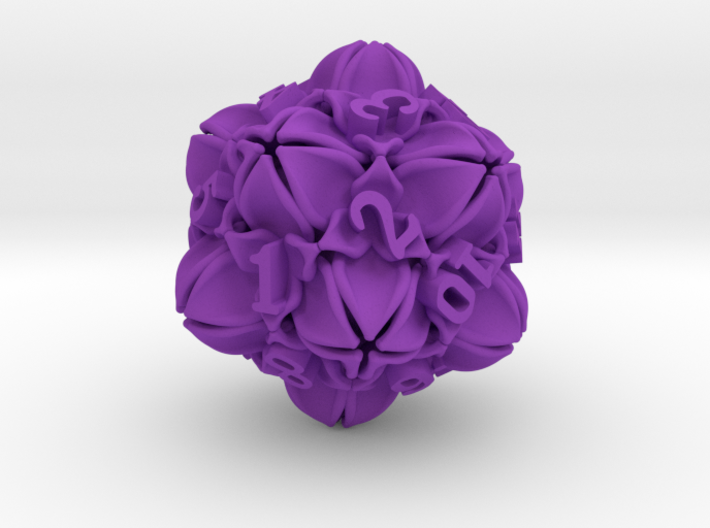 Floral 2 - D20 Large Spindown Life Counter 3d printed