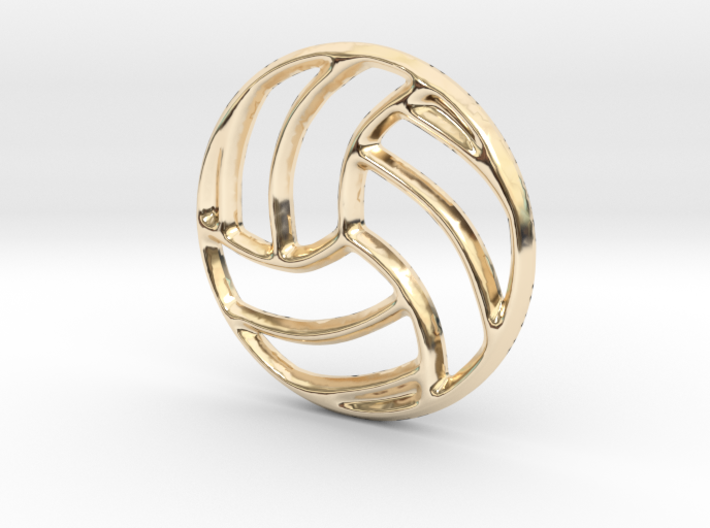 Volleyball Pendant/Charm - 16mm 3d printed