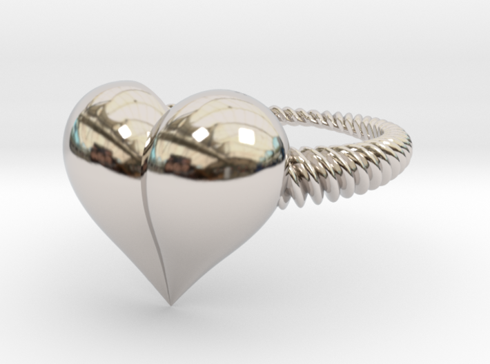 Size 11 Heart Ring 3d printed