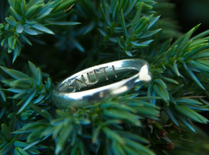 """Infinite Love Ring 3d printed My personal 18.5 mm ring inpolished silver with """"Snuti"""" engraved."""