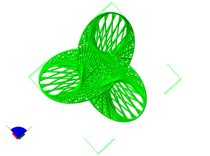 Trefoil string art 3d printed view from above