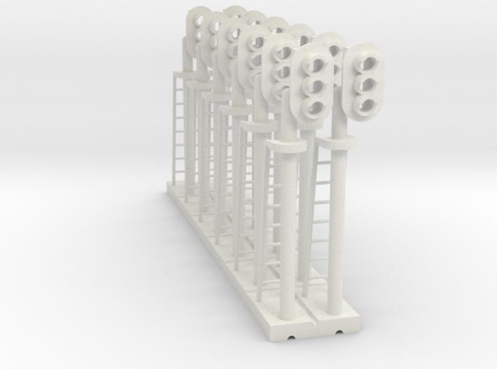 Block Signal 3 Light RH (Qty 12) - HO 87:1 Scale 3d printed