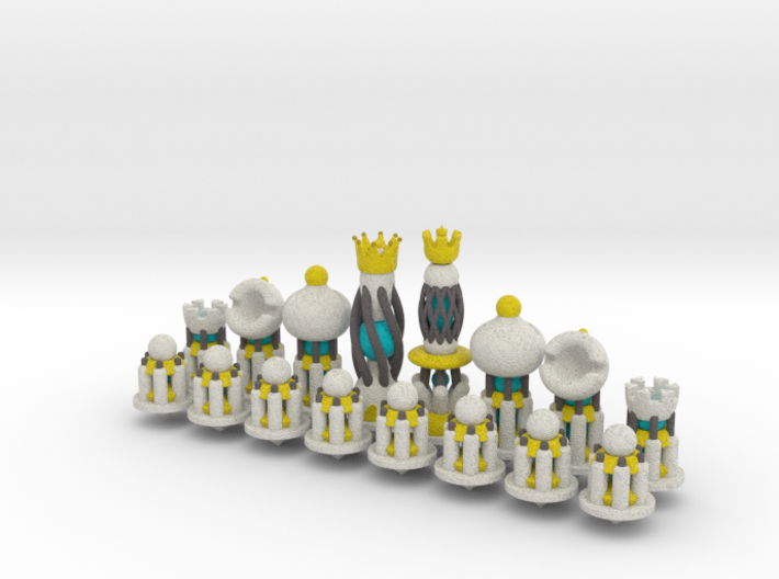 Galaxy Chess Pieces Set White 3d printed