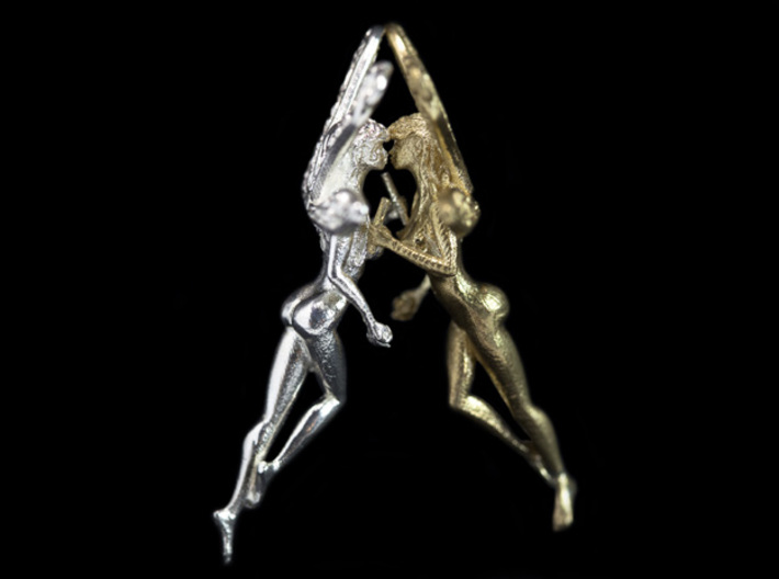 Fairy Pendant - 2 inch (5 cm). 3d printed Kissing wide shot, raw silver and brass (sold separately).