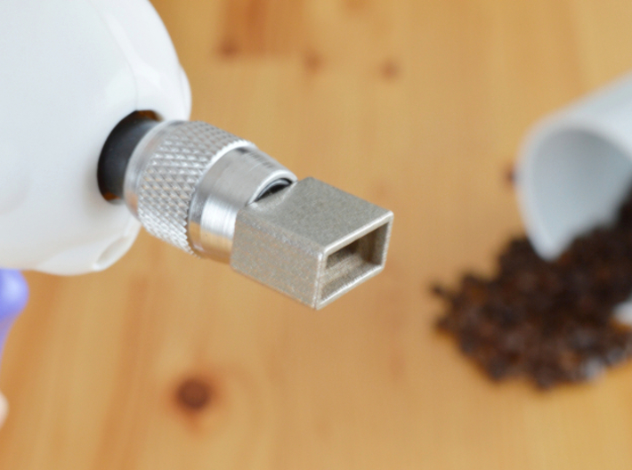 """Coffee Grinder Bit For Drill Driver CDS-S 3d printed Set image (Quick-change 1/4"""" hex chuck)"""