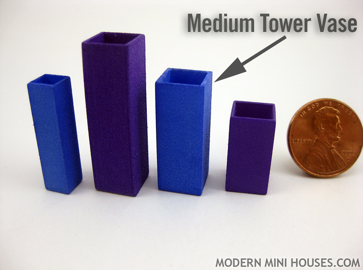 Tower Vase Medium 1:12 scale 3d printed (actual material is Blue Strong & Flexible Polished)