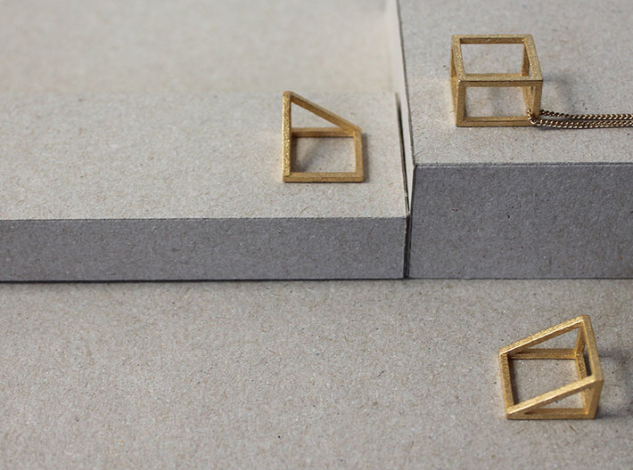CUBE - ring or pendant - 1P 3d printed