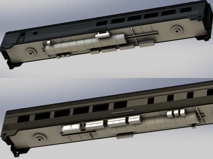 Via Rail Chassis for Dining & Coach Cars 3d printed Chassis Mounted onto Dinning Car
