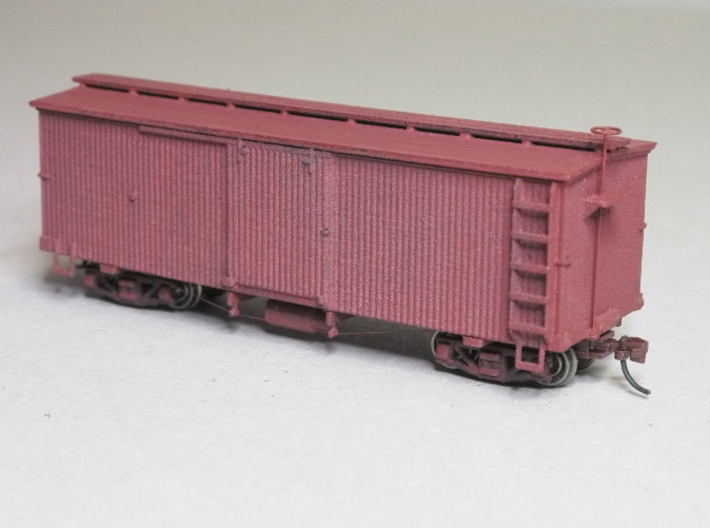 HOn30 25 foot Boxcar 3d printed finished model using extra parts
