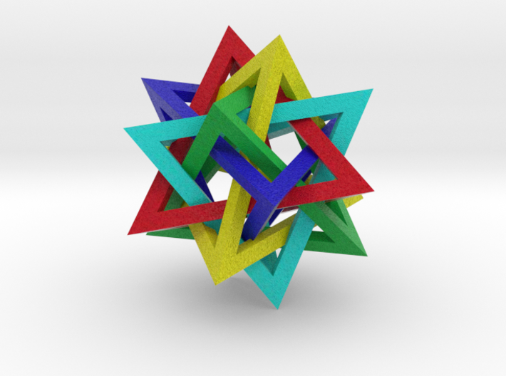 Tetrahedron 5 Compound, colored 3d printed