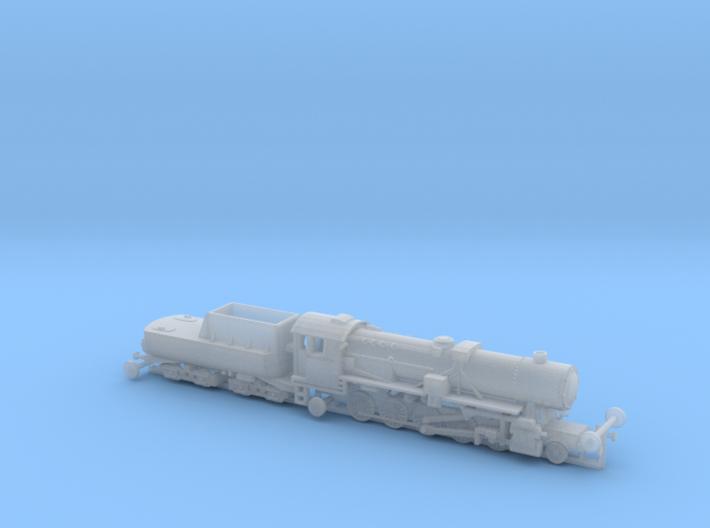 German BR 52 Steamloco w. K 2 2 T 30 Tender 1/285 3d printed