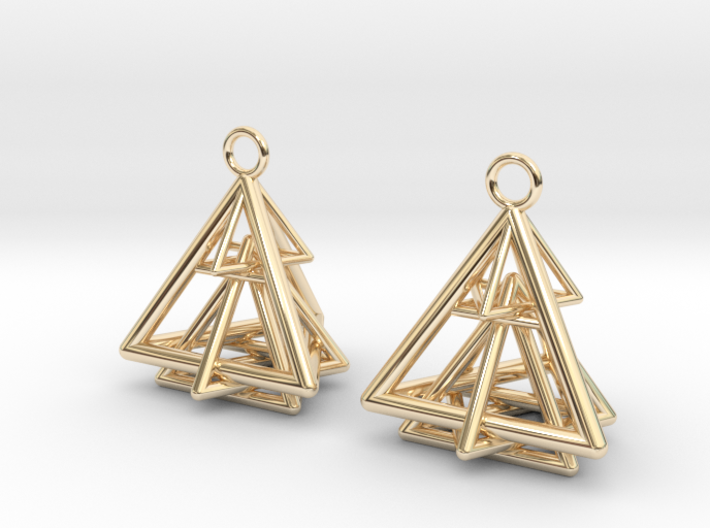 Pyramid triangle earrings type 15 3d printed