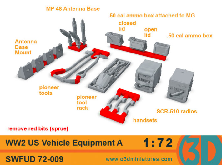 WW2 US Vehicle Equipment A 1/72 scale SWFUD-72-009 3d printed set contents