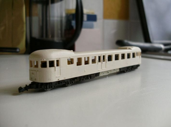 Decauville Autorail - DXW Nm 1:160 3d printed model with primer coat