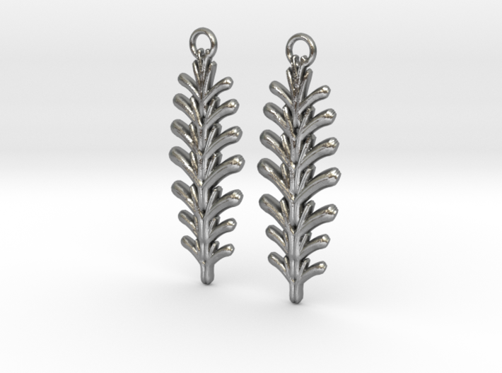 Quilted Sq Earrings (Fern) 3d printed