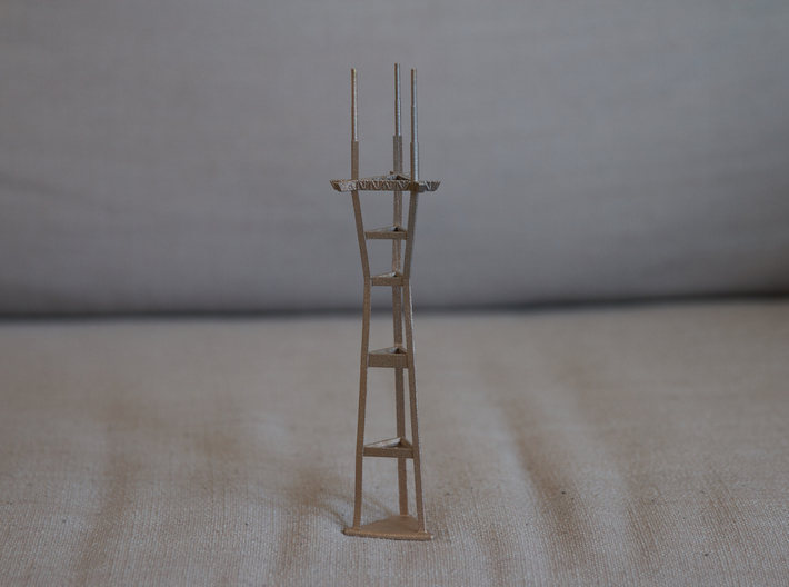 """8"""" stainless steel Sutro Tower 3d printed"""