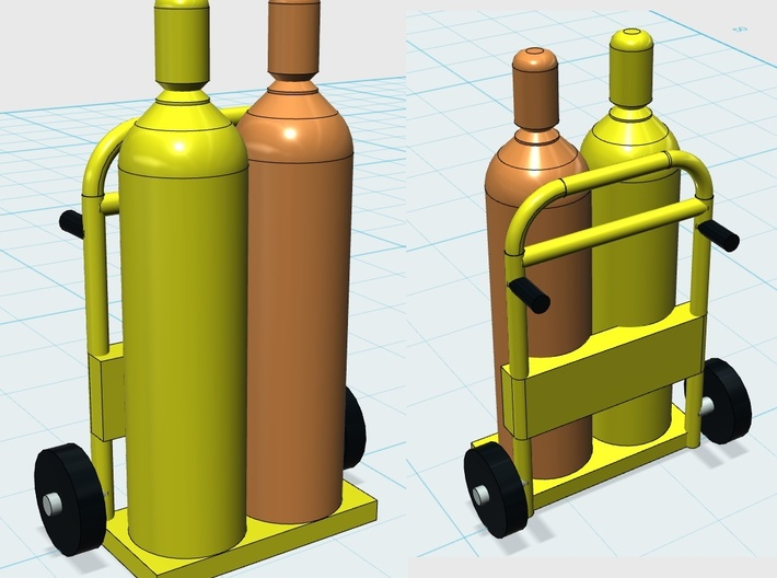 Acetylene Tanks On Dolly 1-87 HO Scale 3d printed