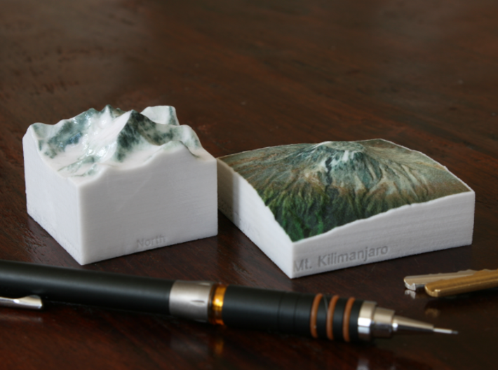 Kilimanjaro, Tanzania, 1:250000 Explorer 3d printed Photo of Mt. Everest and Kilimanjaro, both at 1:250000