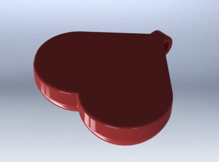 Breasts-shaped keychain/pendant 3d printed 3D render red plastic (from behind)