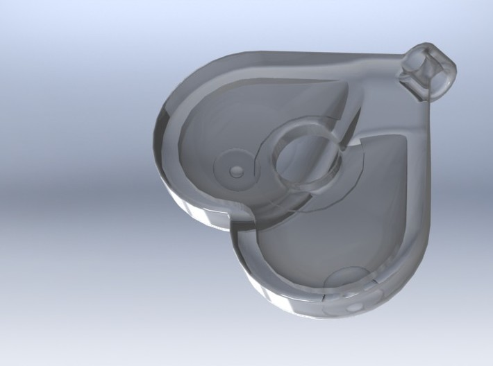 Breasts-shaped hollow keychain/pendant/aromapendan 3d printed 3D render transparent (from behind)