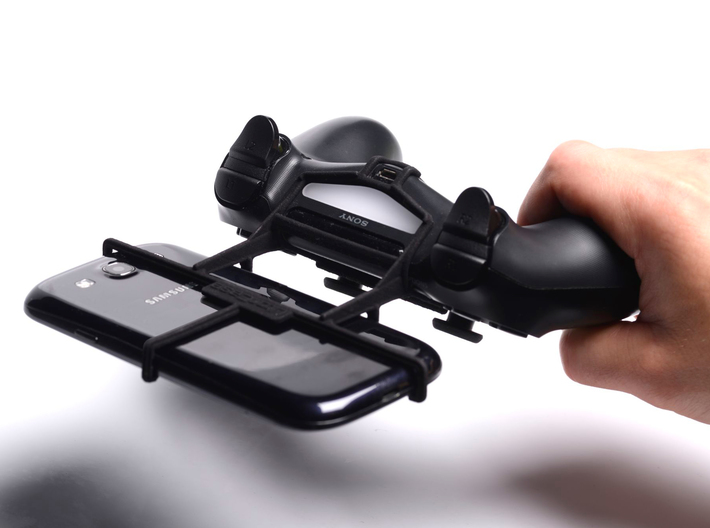PS4 controller & Samsung Galaxy J1 Ace - Front Rid 3d printed In hand - A Samsung Galaxy S3 and a black PS4 controller