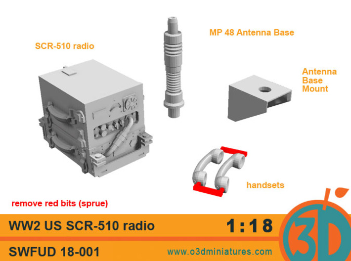 WW2 US radio SCR - 510 1/18 scale SWFUD-18-001 3d printed set contents