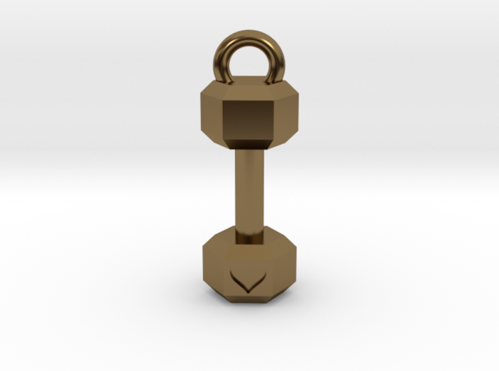 Mini Dumbbell charm with Heart Detail 3d printed