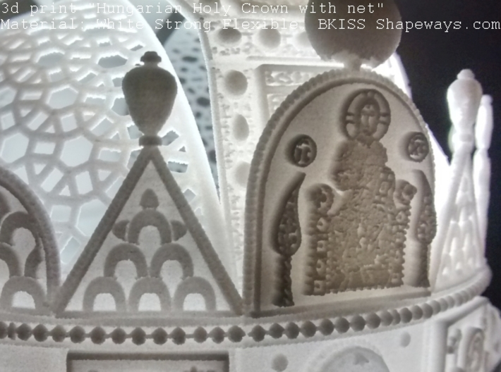 """Hungarian Holy Crown with net - half scale 3d printed Photo about 3dprint """"Hungarian Holy Crown with net"""", Material: White Strong Flexible - front left with underlight"""