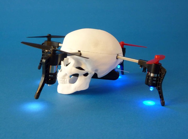 "Skull case for Micro Drone 3.0 3d printed drone case ""skull"" for Micro Drone 3.0, 3D printed in white nylon"