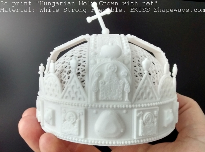 """Hungarian Holy Crown with net - half scale 3d printed Photo about 3dprint """"Hungarian Holy Crown with net"""", Material: White Strong Flexible - front with toplight"""