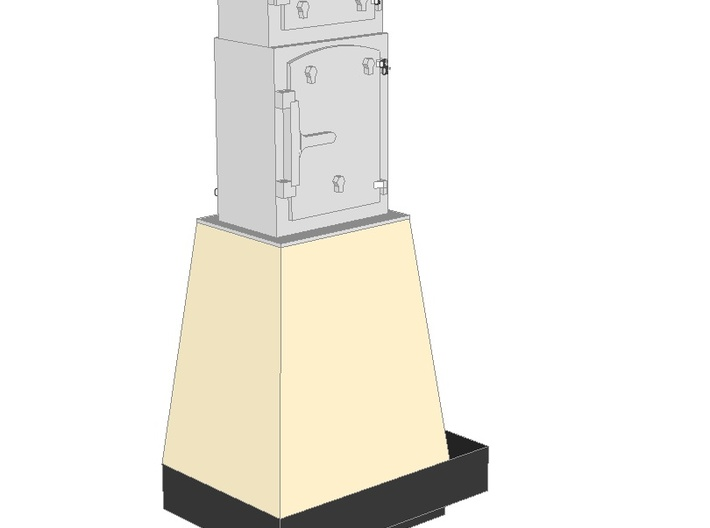 WIP - N 1:160 Semaphore Base 2 Cabinets A 3d printed Painted render - base with two narrow cabinets