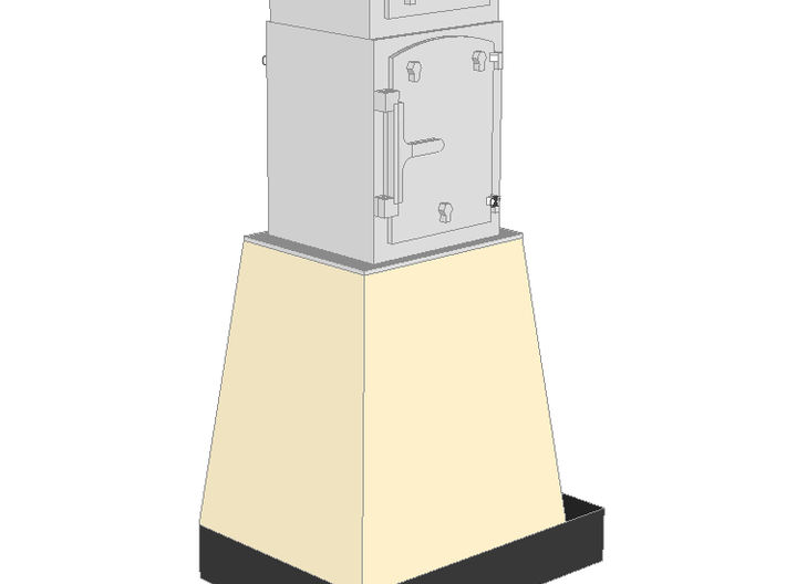 WIP - N 1:160 Semaphore Base 2 cabinet B (wide) 3d printed Painted render - base with 2 wide cabinets