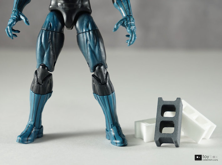 1:12 Cinder blocks set of 6 for diorama 3d printed Grey block has been painted, Marvel Legends figure for scale reference