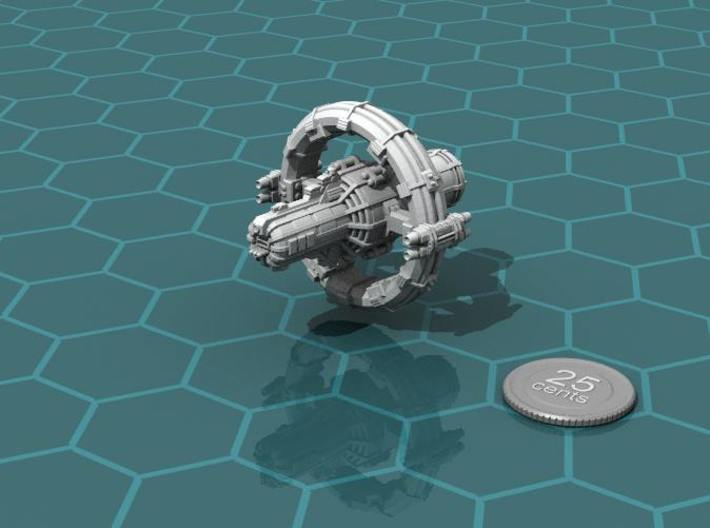 Jovian Europa class Command Carrier 3d printed Render of the model, plus a virtual quarter for scale.