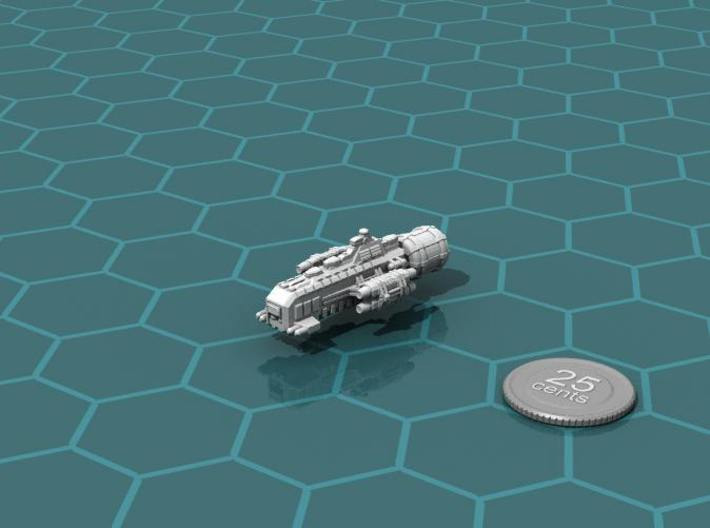 Jovian Schild class Escort Cruiser 3d printed Render of the model, plus a virtual quarter for scale.