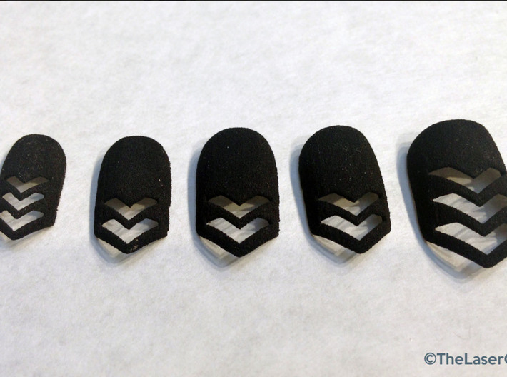 Chevron Nails (Size 1) 3d printed Black Strong and Flexible