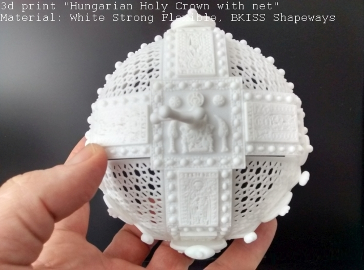 """Hungarian Holy Crown with net - half scale 3d printed Photo about 3dprint """"Hungarian Holy Crown with net"""" Material: White Strong Flexible Top view"""