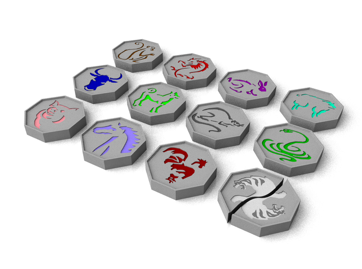 Jackie Chan Talismans (Tiger in Halves) 3d printed CGI Beauty Render of these models.  This is a better representation of the colours of the stones.
